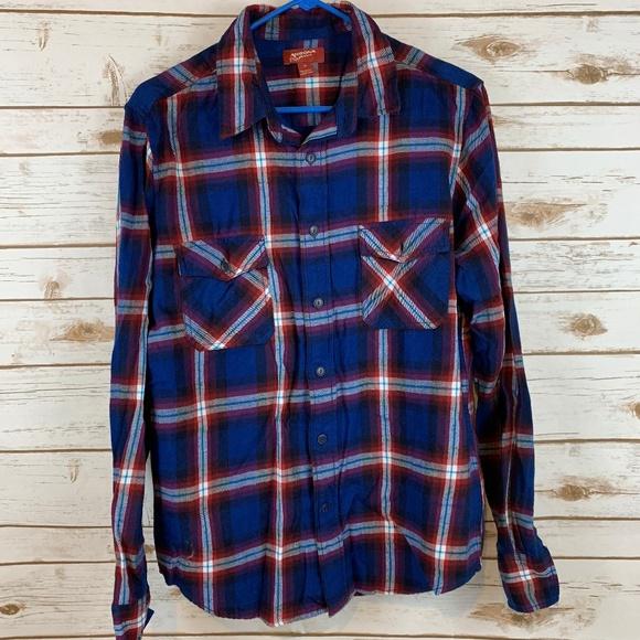 Button Up Shirt Plaid Flannel Arizona Long Sleeve Blue//Green Mens Size M-XXL